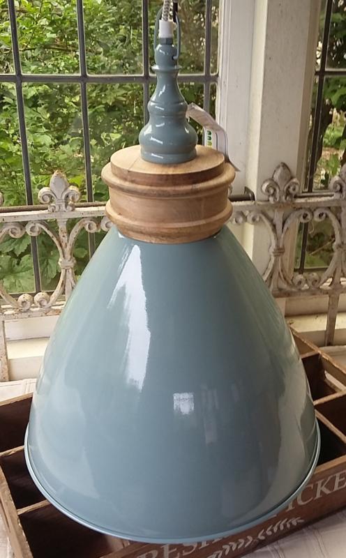 Prachtige hanglamp van metaal en hout