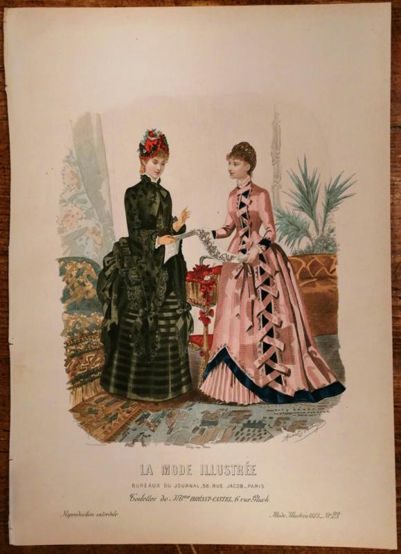 Prachtige modeprent uit 1885, La Mode Illustree, no 23