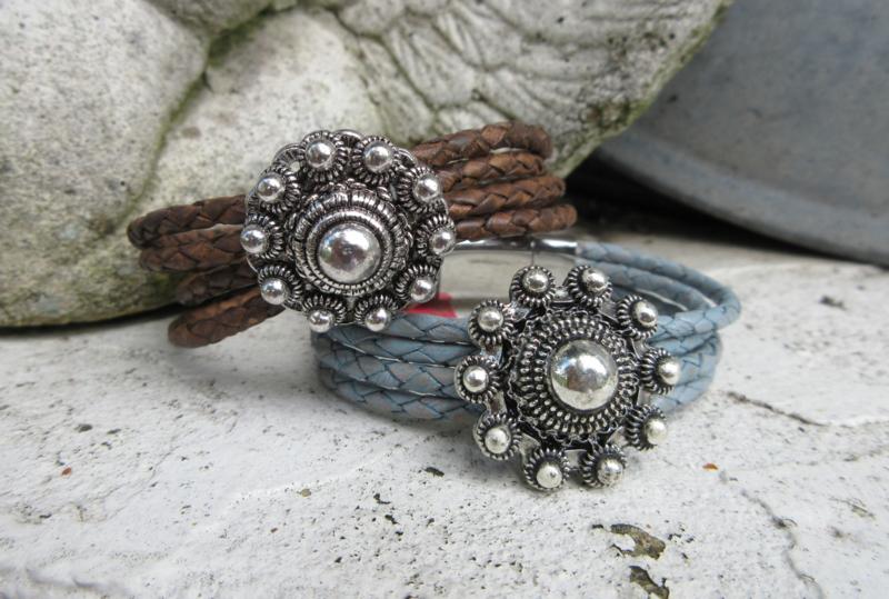 rondgevlochten armband met Zeeuwse knop