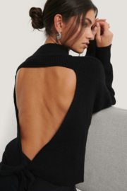 Nakd open back knit sweater zwart