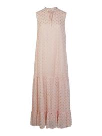 Pink Maxi dress Gold polka dots