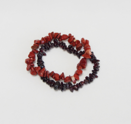 Rockstyle armband - Red jasper & Garnet -  Honesty & Hope