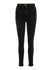 High waist ankle jeans black