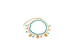 Enkelbandje Double layered anklet - Turquoise beads & golden coins