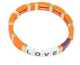 Armband oranje goud LOVE