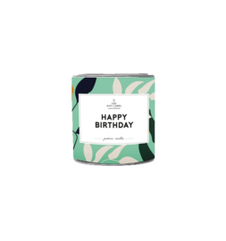 The gift label - candle in tin - Jasmine vanille - Happy birthday small