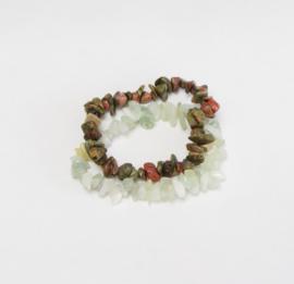 Rockstyle armband - Jade en Unakite Wealth & Inner peace