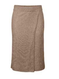 Pieces Suna High Waist Knitted Skirt Beige