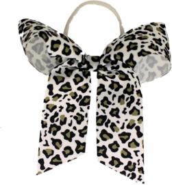 Haarstrik met elastiek leopard grey