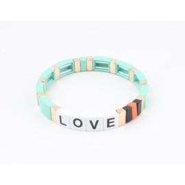 Armband turquoise goud Love