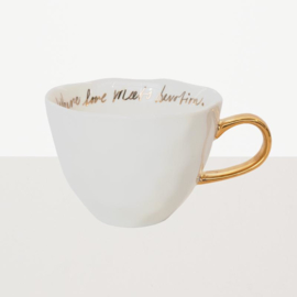 Goodmorningcup white with gold text inside