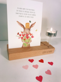 Gein Konijn met bloemen (incl. houten kaartenhouder en waxinelichthouder)
