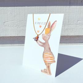 Gein Konijn - met roodborstje ketting - 'Ik vind je lief'