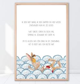 Gein Konijn poster 'Zwemles'