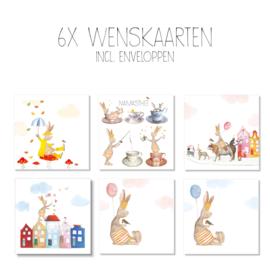 Wenskaarten van Gein Konijn, set van 6 stuks (incl. witte envelop)