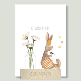 Gein Konijn 'Ik vind je lief' (incl. houten kaartenhouder en vaasje)