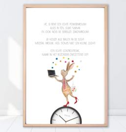 Gein Konijn poster ' Powervrouw'