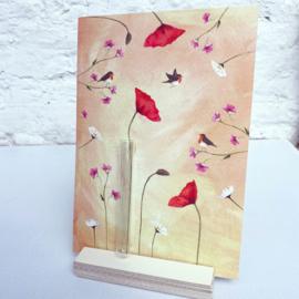 Birdy roodborstjes kaart met mini vaasje en kaartenhouder