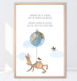 Gein Konijn poster ' Wereldbol'