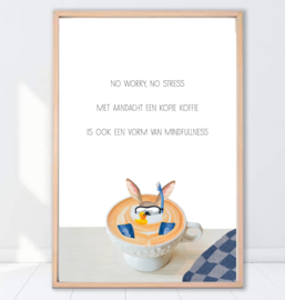 Gein Konijn poster ' Koffietijd'