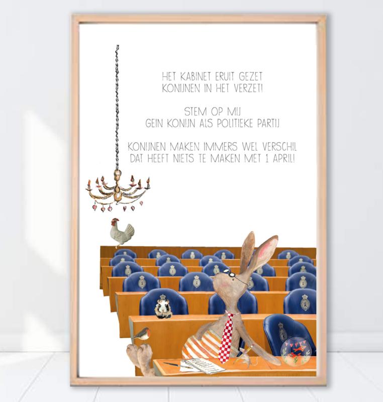 Gein Konijn poster ' Politiek'