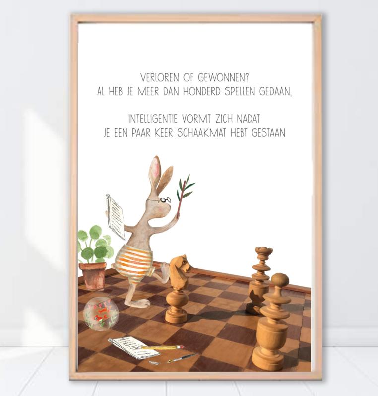 Gein Konijn poster ' Schaakmat'