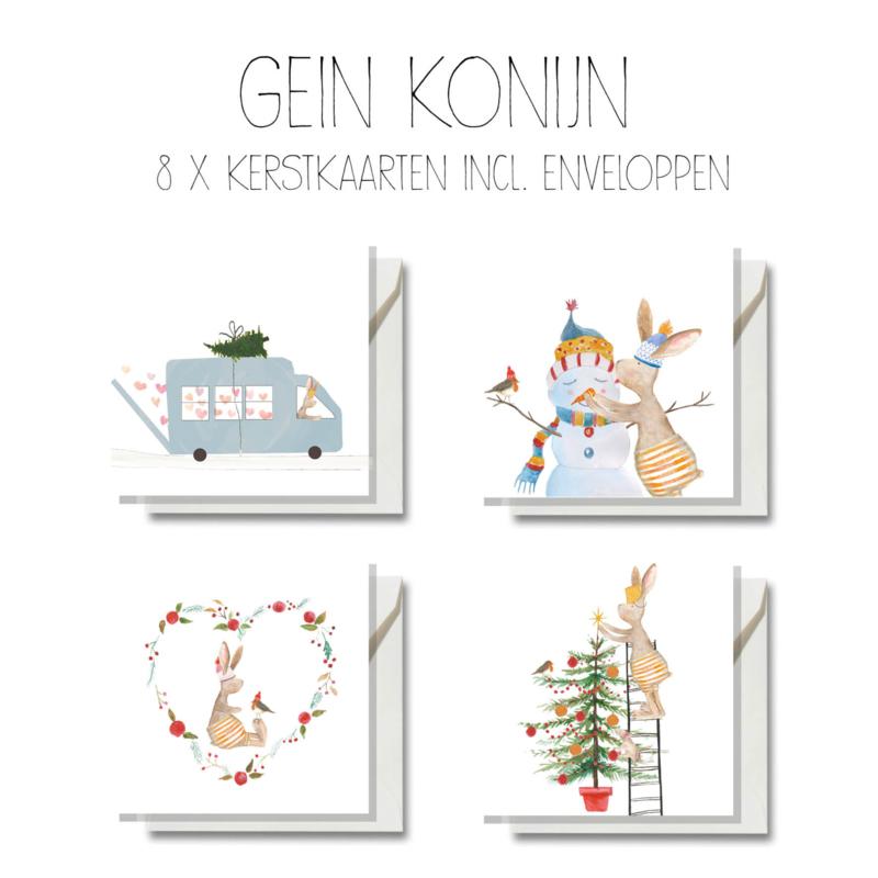 Gein Konijn kerstkaarten, 8 stuks incl. envelop