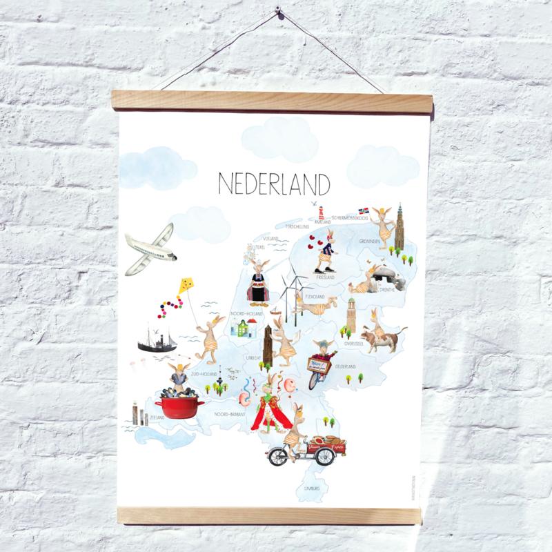 Gein Konijn Nederland - canvas met houten ophangsysteem