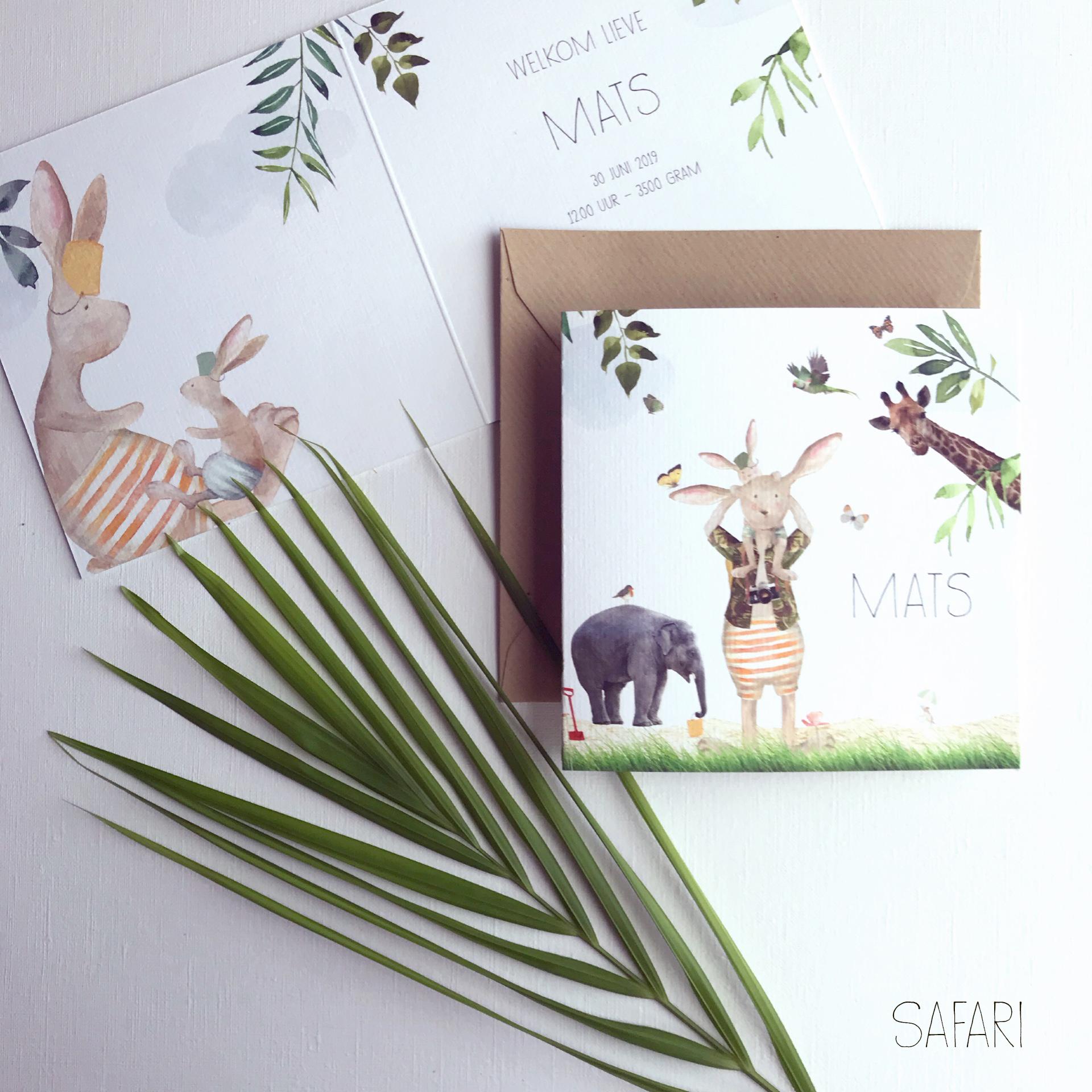 Safari geboortekaartje