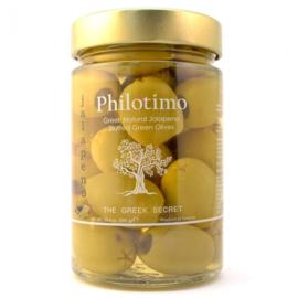 Griekse groene olijven met jalopeno 300 gr.