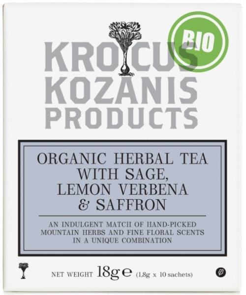Biologische thee  met  salie en citroen en Saffraan