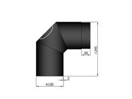 Bocht 90 graden met veegluik / Ø 150 mm