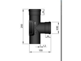 T-stuk met deur / Ø 80 mm