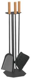 Haardstel grijs met houten handgreep 3-delig