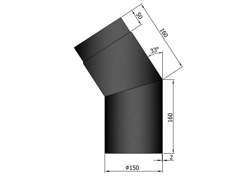Bocht 33 graden dikwandig / Ø 150 mm