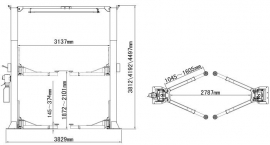 2 Kolom hefbrug Peak 215C Drempelvrij 6800KG