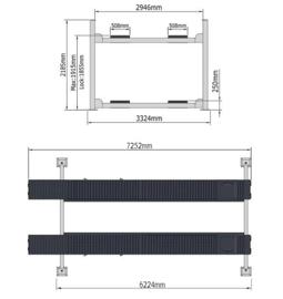 4 kolommen hefbrug type PEAK 414AE  (6 meter) met verlichting en middenkrik en uitlijnfunctie