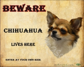 Waakbord Chihuahua Langhaar Engels. Per set van 2 waakborden UITVERKOCHT