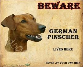 Waakbord German Pinscher Red / Duitse Pinscher Rood (Engels) Per set van 2 waakborden