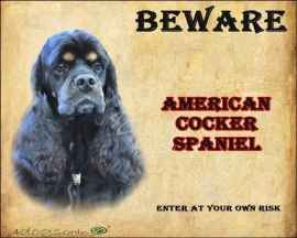 Waakbord Amerikaanse Cocker Spaniel Black and Tan (Engels). OP=OP