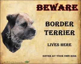 Waakbord Border Terrier Blue Engels. OP=OP