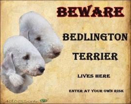 Waakbord Bedlington Terrier Dubbel OP=OP