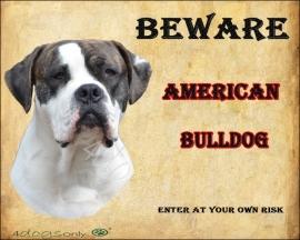 waakbord american Bulldog gestroomd per set 2 waakborden UITVERKOCHT