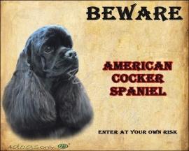 Waakbord Amerikaanse Cocker Spaniel Zwart (Engels). OP=OP