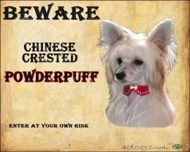 Waakbord Chinese Crested - Powderpuff  (Engels) (02) Per set van 2 waakborden OP=OP