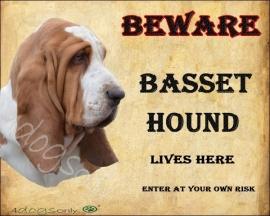 Waakbord Basset Hound. Per set van 2 waakborden UITVERKOCHT