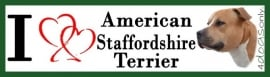I LOVE American  Stafford Terrier Rood OP=OP