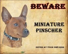 Waakbord Miniature Pinscher Rood / Dwerg Pinscher (Engels ). Per set van 2 waakborden UITVERKOCHT