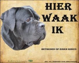 Waakbord Cane Corso zwart (01) (Nederlands).(UITVERKOCHT)