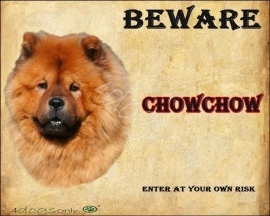 Waakbord Chow Chow Rood (Engels). Per set van 2 waakborden UITVERKOCHT